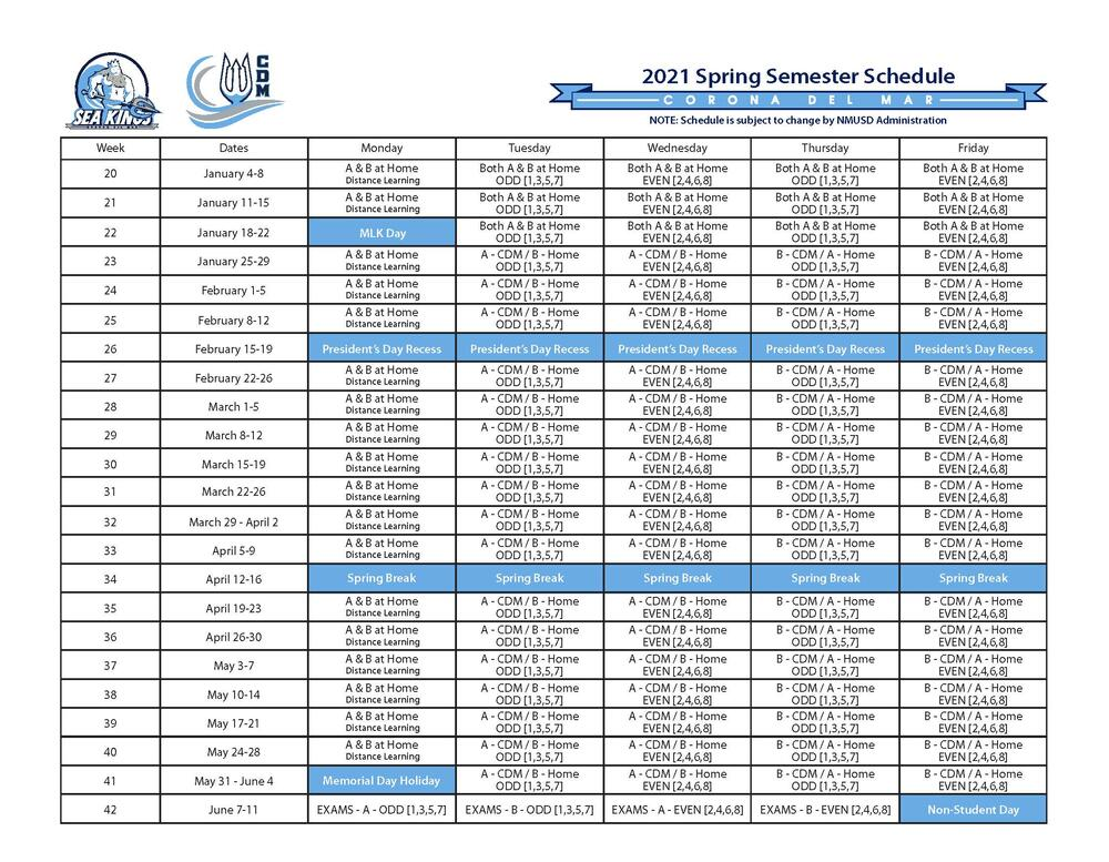 CdM Block Schedule 2021
